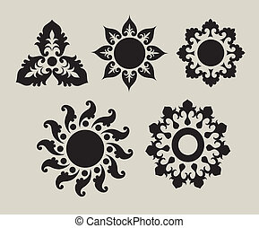 1, fiore, ornamenti