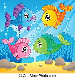 1, fish, thème, image