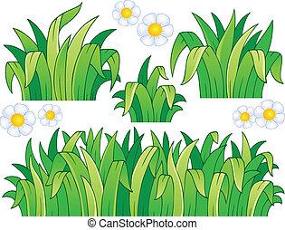 1, folhas, capim, tema, imagem