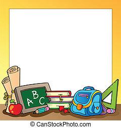 1, fournitures, cadre, école