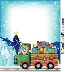 1, frame, vrachtwagen, thema, kerstmis