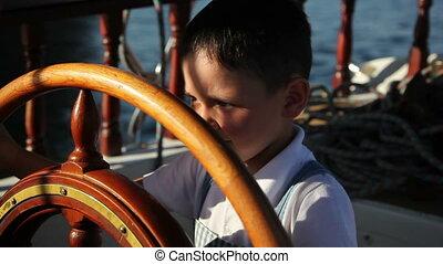 1, garçon, peu, bateau, conduite