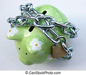 1, gesloten, piggy bank