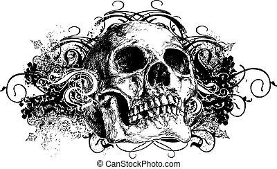 1, getrokken, schedel, illustratie, hand
