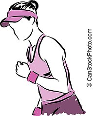 1, giocatore, tennis, illustrazione