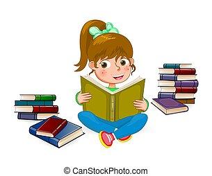 1, girl lezen, boek, vrolijke