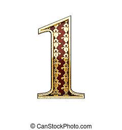 1 golden letter 3d illustration
