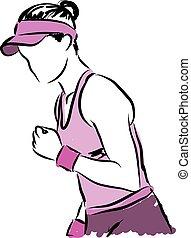 1, gracz, tenis, ilustracja