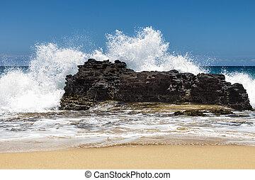 1, grande, salpicadura, piedra playa