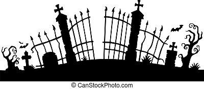 1, grind, tema, silhuett, kyrkogård
