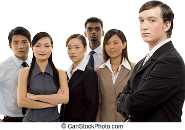 1, groep, leider, zakelijk