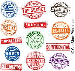 1, grunge, francobolli, set, commerciale