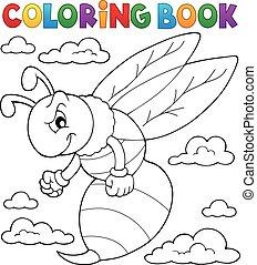 1, guêpe, thème, livre coloration