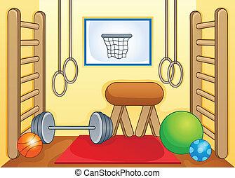 1, gym, sportende, thema, beeld