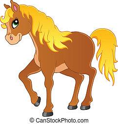 1, häst, tema, avbild
