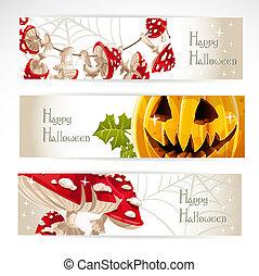1, halloween, horisontale, banner, glade