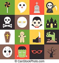 1, halloween, satz, zeichen, ikone