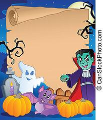1, halloween scen, pergament