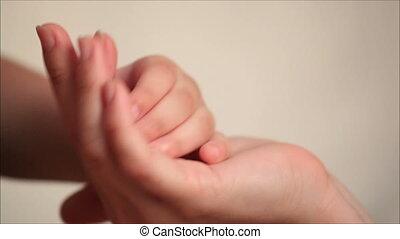 1, handen, zoon, vasthouden, moeder