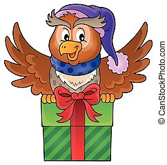 1, hibou, image, thème, cadeau