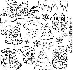 1, hibou, thème, hiver, dessins