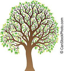 1, hojas verdes, árbol