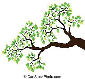 1, hojas verdes, rama de árbol