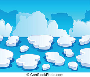 1, horizontalmente, seamless, gelo mar