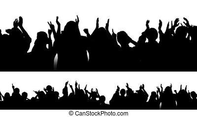 1, hurrarufen, silhouetten, crowd