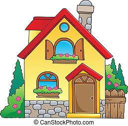 1, hus, tema, avbild