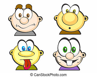 1, icônes, ensemble, faces