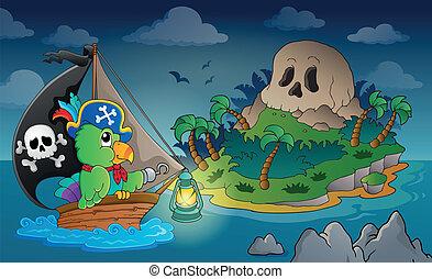 1, ilha, tema, pirata, cranio