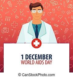 1, illustration., medizin, day., holiday., vektor, desember., welt, medizinprodukt, aids