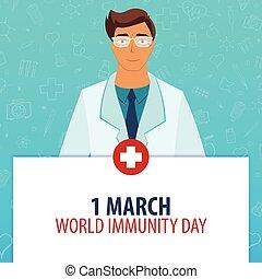 1, illustration., medizin, march., day., holiday., vektor, medizinprodukt, welt, immunity