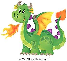 1, image, heureux, thème, dragon