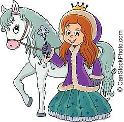 1, image, hiver, cheval, princesse