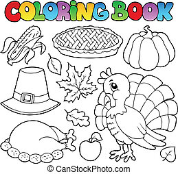 1, image, livre coloration, thanksgiving
