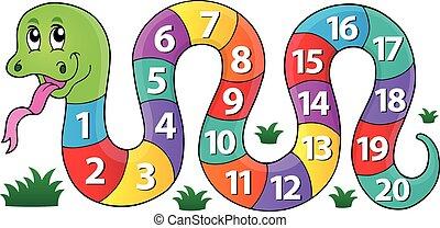1, image, thème, nombres, serpent