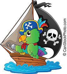 1, image, thème, perroquet, pirate