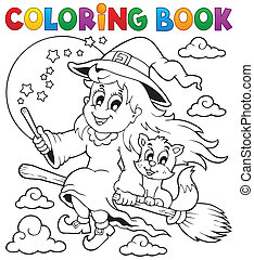 1, imagem, coloração, dia das bruxas, livro