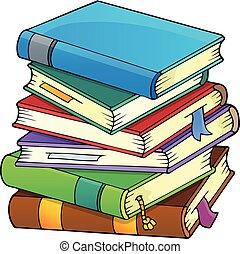 1, imagem, livros, tema, pilha