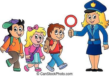 1, imagen, mujer policía, alumnos