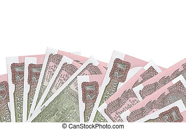 1 Indian rupee bills lies on bottom side of screen isolated on white background with copy space. Background banner template