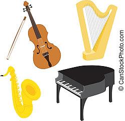 1, instrumenter, sæt, musik, cartoon