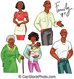 1, isolé, ensemble, membres famille