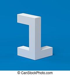1, isométrique, police, nombre, 3d