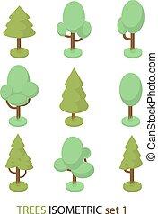 1, isométrique, vecteur, arbre, ensemble