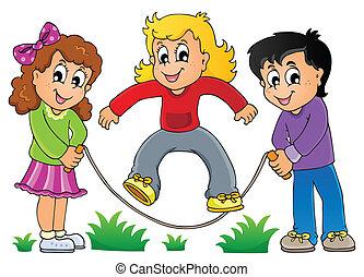 1, játék, gyerekek, téma, kép