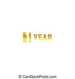 1, jaar, gelukkige verjaardag, goud, logo, op wit, achtergrond, collectief, jubileum, vector, minimalistic, meldingsbord, begroetende kaart, template.