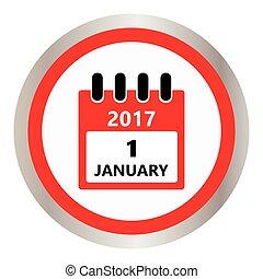 1, januar, kalender, ikone